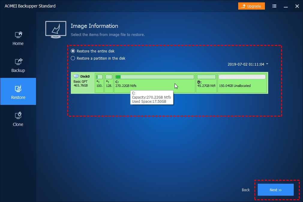 Select Entire Disk or Partition
